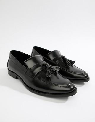 Walk London North fringe tassel loafers in high shine black