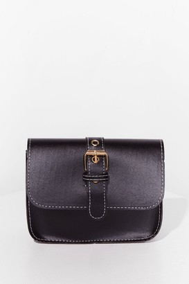 Nasty Gal Womens WANT Buck-le Off Faux Leather Crossbody Bag - Black - ONE SIZE, Black
