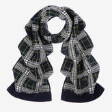Bally Tartan Knitted Scarf Green, Men's wool and cashmere scarf in multi-green