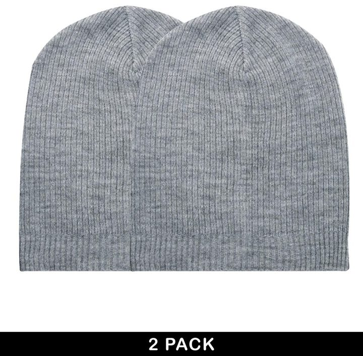 Asos Slouchy Beanie Hat 2 Pack SAVE 17%