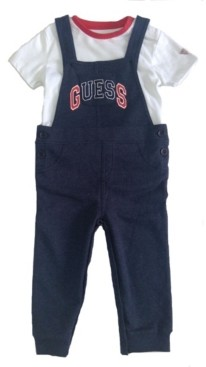 GUESS Boys Short Sleeve T-shirt & French Terry Overall Set