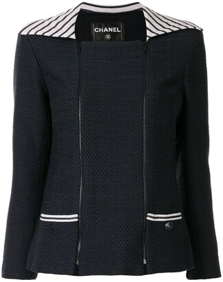 Chanel Pre Owned Striped Panel Jacket