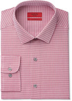 Alfani Men's Fitted Performance Stretch Easy Care Burgundy Twill Check Dress Shirt, Only at Macy's