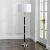 Crate & Barrel Owen Nickel Floor Lamp with Black Leather