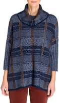 Olsen Rustic Luxury Plaid Poncho Sweater