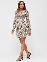 Very Georgette Twist Front Mini Dress -Print