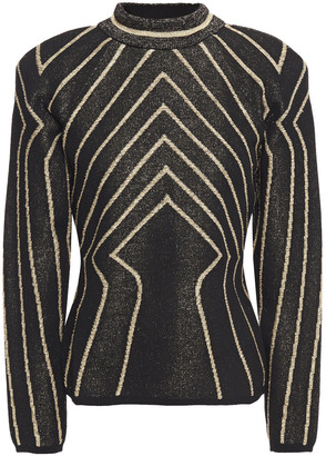 Alberta Ferretti Metallic Jacquard-knit Wool Sweater