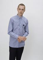 Comme des Garcons Blue / White Stripe Black Heart Shirt