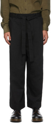 Naked and Famous Denim SSENSE Exclusive Black Wide-Leg Trousers