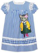 Gucci Children's check dress with kitten appliqué