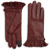 Rebecca Minkoff Tech Touch Fringe Trim Leather Gloves
