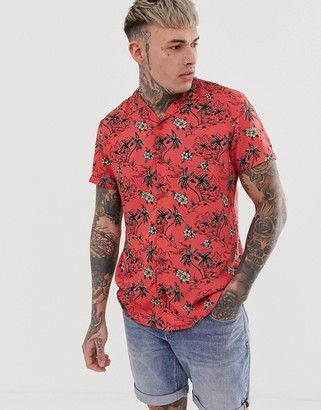 Blend revere collar shirt with hibiscus print in red