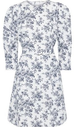 Jason Wu Belted Floral-print Cotton-poplin Mini Dress