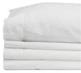 Jennifer Adams Home Jennifer Adams Relaxed Cotton Percale Twin Sheet Set Bedding
