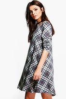 Boohoo Polly Check Brushed Knit Swing Dress