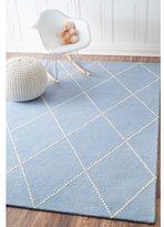 nuLoom Handmade Dotted Trellis Wool Kids Nursery Baby Blue Rug (7'6 x 9'6)