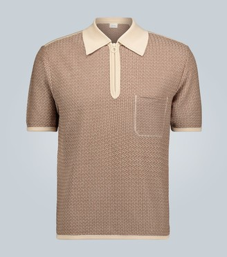 Lemaire Jacquard knitted jersey polo shirt