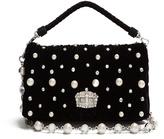 Miu Miu Faux-pearl embellished velvet shoulder bag