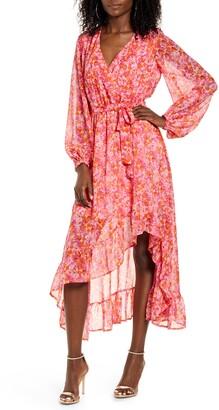 Vero Moda Anneline Long Sleeve High/Low Faux Wrap Dress