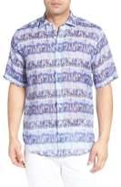 Bugatchi Men's Shaped Fit Print Linen Sport Shirt