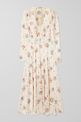 Paco Rabanne Floral-print Satin Midi Dress - Ivory