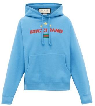 Gucci Band-logo Cotton Hooded Sweatshirt - Blue
