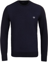 Fred Perry Textured Stripe Navy Crew Neck Sweater