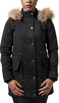 Urban Classics Women's Ladies Sherpa Lined Peached Parka Jacket