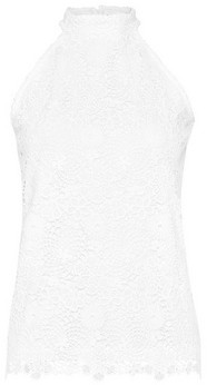 Dorothy Perkins Womens White Lace Halter Neck Top, White