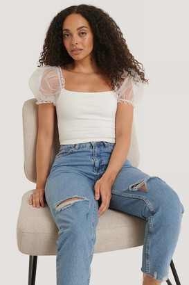 NA-KD Organza Sleeve Top