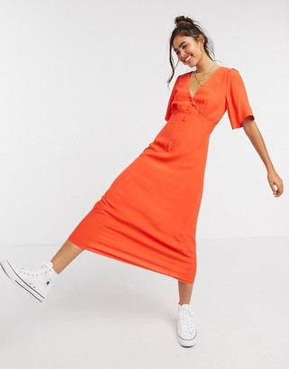 New Look v neck flutter sleeve midi dress in bright orange