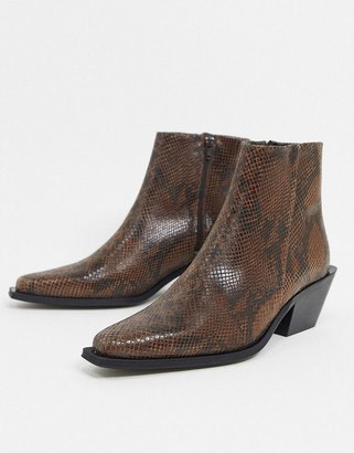 ASOS DESIGN cuban heel western chelsea boot in brown snake leather with angular sole