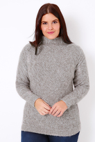 Yours Clothing Grey & Silver Metallic Cable Knit Jumper