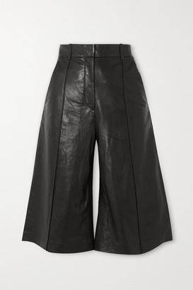 Veronica Beard Arnold Leather Culottes - Black