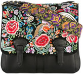 Roberto Cavalli floral embroidered satchel - women - Bos Taurus/metal - One Size