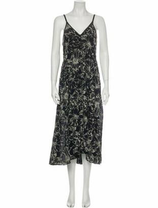 Oscar de la Renta Printed Long Dress Black