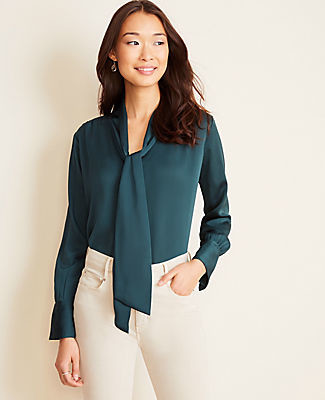 Ann Taylor Hammered Satin V-Neck Bow Blouse