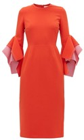 Roksanda Ronda Contrast-panel Fluted-cuff Cady Dress - Womens - Red