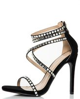 Quiz Black Strap Diamante Sandals