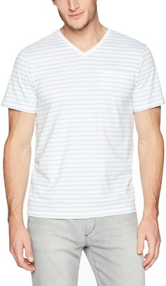 Calvin Klein Men's Short Sleeve T-Shirt Allover Stripe and Jacquard Welt Pocket