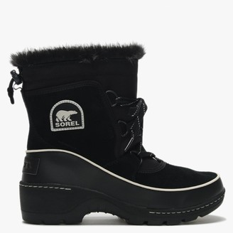 Sorel Torino Black & Light Bisque Suede Lace Up Ankle Boots