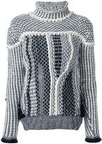 Oneonone knit patchwork turtleneck jumper