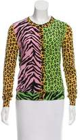 Moschino Cheap & Chic Moschino Cheap and Chic Mixed Animal Print Silk Cardigan