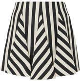 Valentino Striped Wool And Silk-blend Mini Skirt - Black