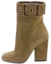 Gucci Square-Toe Suede Ankle Boots