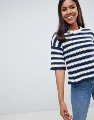 Bellfield Chunky Stripe Knit Sweater Bell Sleeve