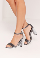 Missguided Crushed Velvet Block Heeled Sandals Grey