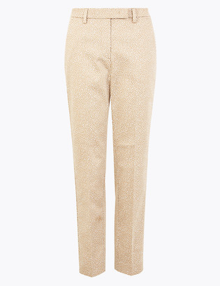 Marks and Spencer Mia Slim Cotton Animal Print 7/8 Trousers