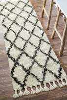 nuLoom 200SPRE14A-28010 Hand-Knotted Moroccan Trellis Shag Wool Runner (2-Feet 8 X 10-Feet)