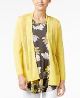 Alfani Petite Mixed-Stitch Open-Front Cardigan, Created for Macy's